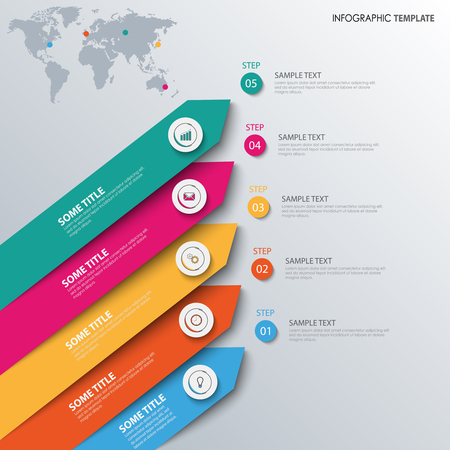 Info graphic with colored sloping design arrows template vector eps 10 Illustration