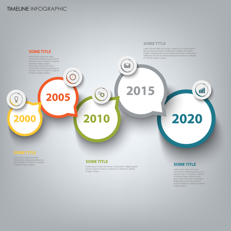 Time line info graphic with round design directional pointers vector eps 10