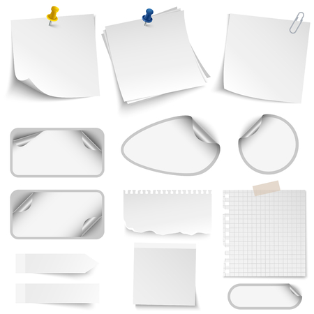 Collection of office design supplies labels stickers pins template.