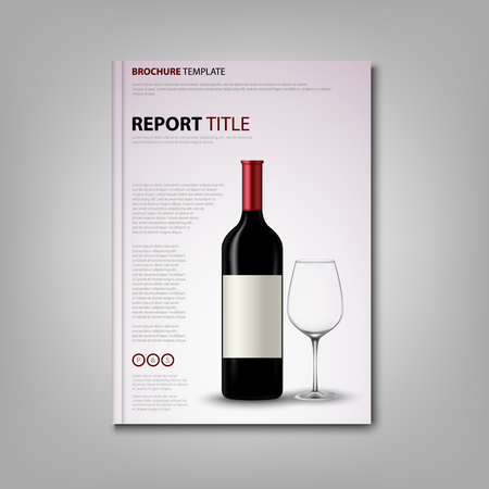 Brochures book or flyer with bottle of wine and glass vector eps 10