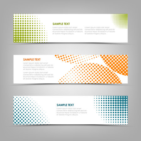 Collection banners with color abstract halfone pattern. Ilustração