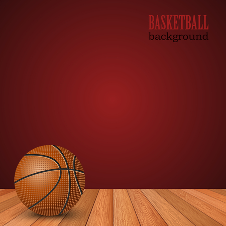 Basketball background with ball on the floor and red wall
