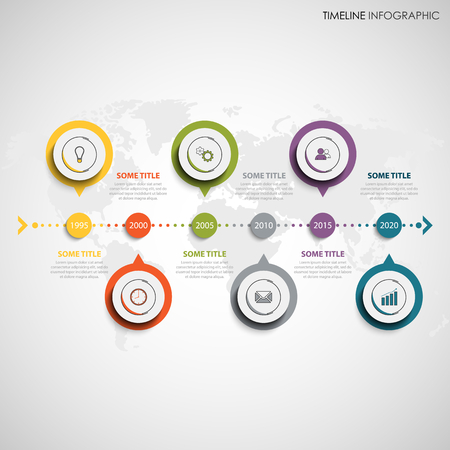 Time line info graphic with round color design element pointers vector
