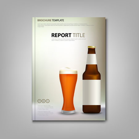Brochure book or flyer with glass of beer and bottles vector eps 10
