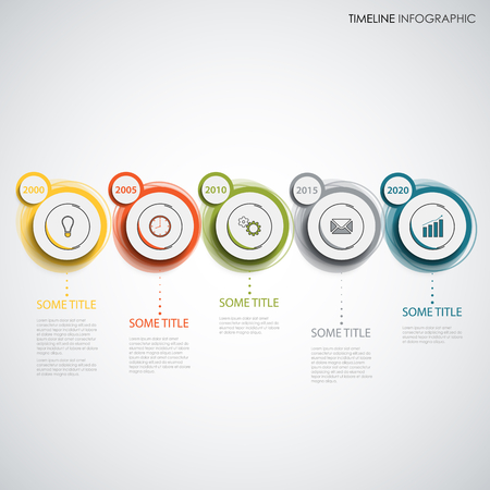Time line info graphic with design colorful abstract circles vector eps 10