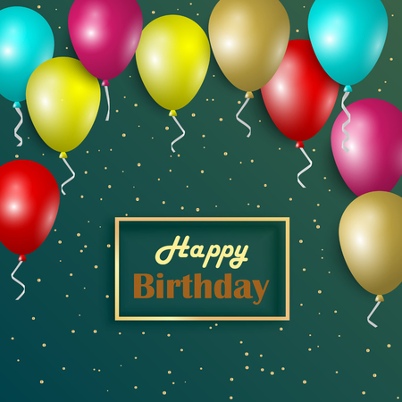 Birthday card with colorful balloons and gold frame vector eps 10