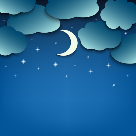 Night sky with clouds and moon template vector eps 10