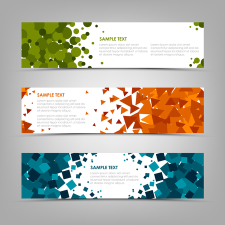 Collection abstract horizontal banners with colorful geometric shapes vector