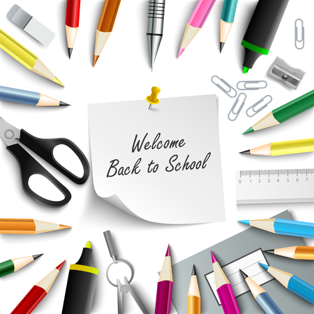 Back to school with aids on white background vector eps 10