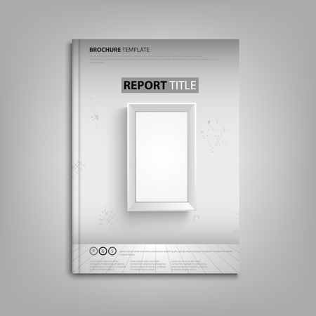 Brochures book or flyer with empty frame on the wall vector eps 10 Ilustração