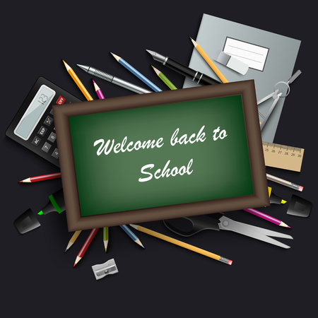 Back to school with table and various tools template