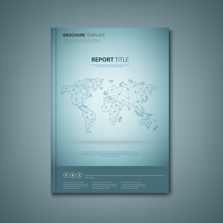 Brochures book or flyer with abstract map of the world vector eps 10
