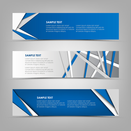 Collection abstract horizontal banners with blue triangles and stripes design vector Ilustração