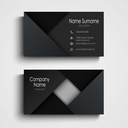 Business card in black design with triangles template vector eps 10