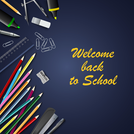 Back to school with aids on blue background vector eps 10