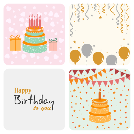 Birthday decoration card in flat design vector eps 10 Illustration