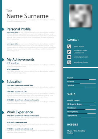 Professional personal resume cv in blue design and pointers vector eps 10