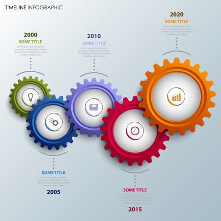 Time line info graphic with colorful design gears template vector eps 10