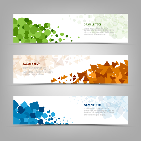 Collection abstract banners with colorful design shapes vector eps 10 Ilustração