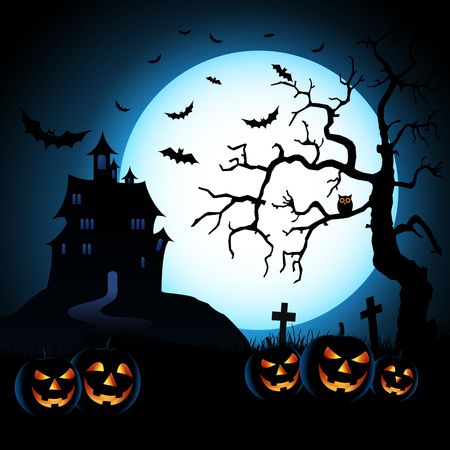 Halloween night blue background with pumpkins and scary castle vector eps 10