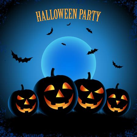 Halloween-Plakat mit Kürbissen im blauen Entwurfsschablonenvektor eps 10