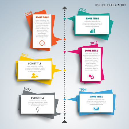 Time line info graphic with paper colored design of labels vector eps 10