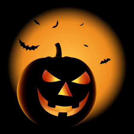 Ghostly Halloween poster with grinning pumpkin vector eps 10 Imagens - 111497410