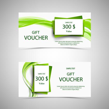 Gift voucher in green design with wavy lines vector eps 10
