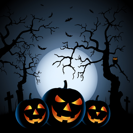 Halloween night background with pumpkins and haunted forest vector eps 10