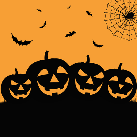 Halloween poster in flat design with grinning pumpkins vector eps 10