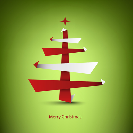 Christmas card with abstract tree in red white design vector eps 10 向量圖像