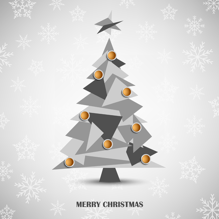Christmas card with abstract gray triangular tree template vector eps 10