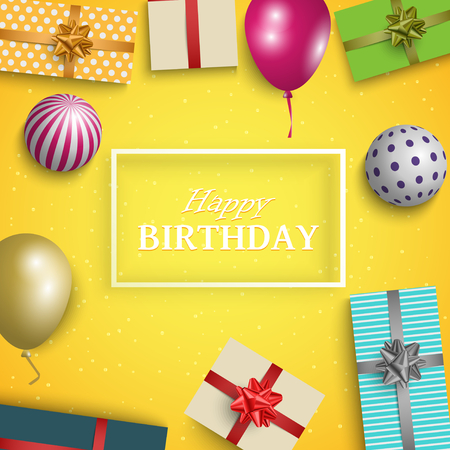 Birthday card with gifts balloons and balls template vector eps 10