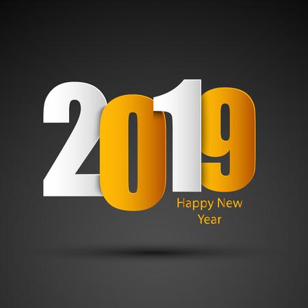 New Year card in white orange design vector eps 10 向量圖像