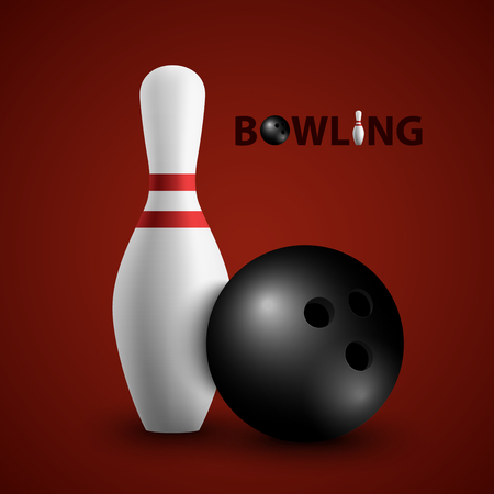 Bowling poster with ball and pin template vector eps 10
