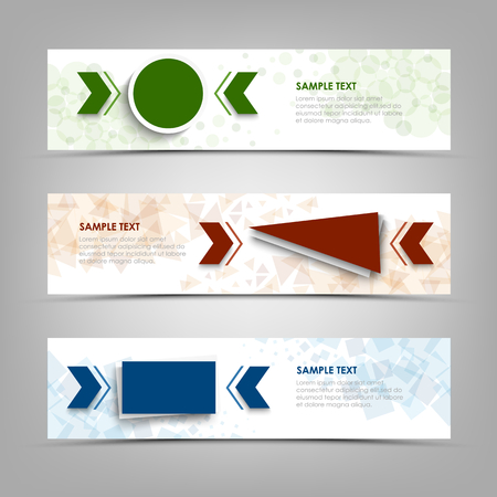 Collection banners with colorful geometric pointers shapes vector eps 10