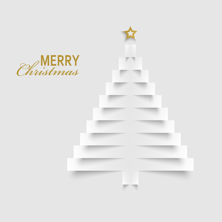 Christmas card with tree from paper labels template vector eps 10
