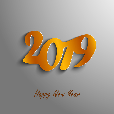 New Year card with abstract numbers in orange design vector eps 10