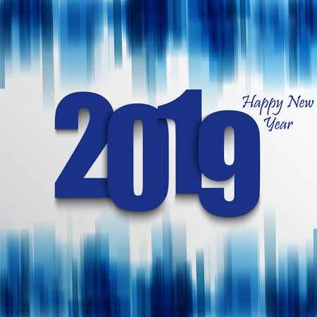 New Year card with abstract strips in blue design vector eps 10 Ilustração