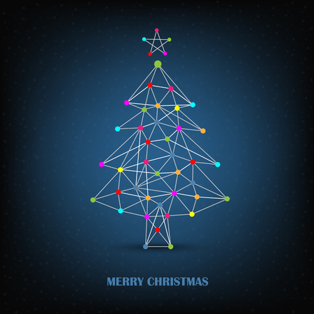 Christmas card with abstract network tree on blue background vector eps 10 Ilustração