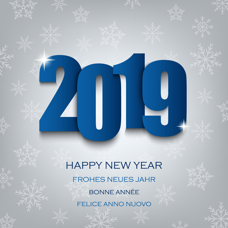 New Year card with numbers in blue design vector eps 10
