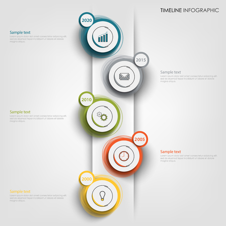 Time line info graphic with round abstract design pointers vector eps 10 Ilustração