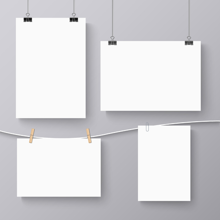Collection of hanging banners with different clips template vector eps 10