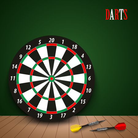 Dart boards with colored steel darts on green background vector eps 10