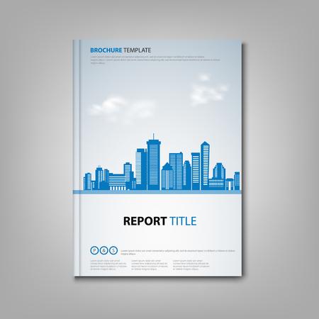 Brochure libro o volantino con città in design blu vettoriale eps 10