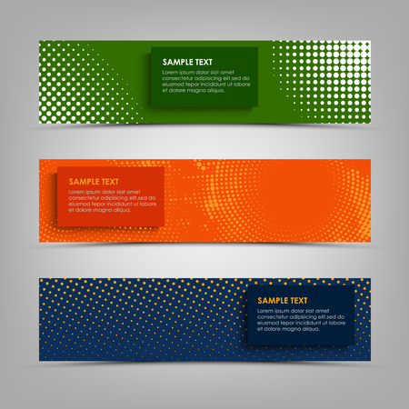 Collection abstract banners with different halftone patterns vector eps 10 Ilustração