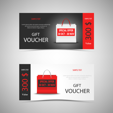Gift voucher with shopping bag template vector eps 10 向量圖像
