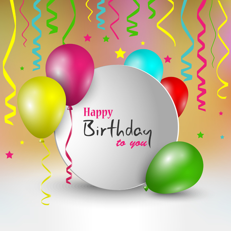 Birthday card with round pointer and balloons template vector eps 10