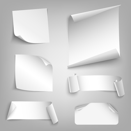 Collection white curved papers design elements vector eps 10