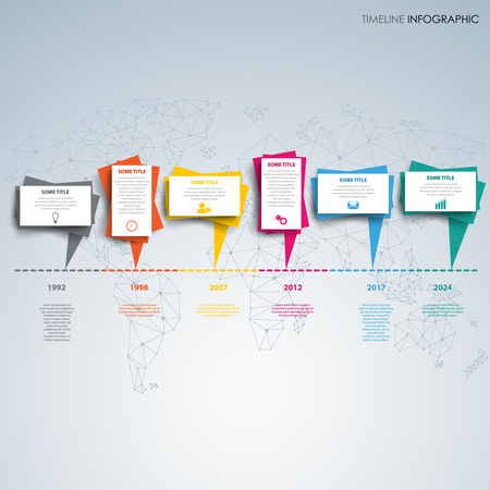 Time line info graphic with behind abstract design dialog bubbles vector eps 10